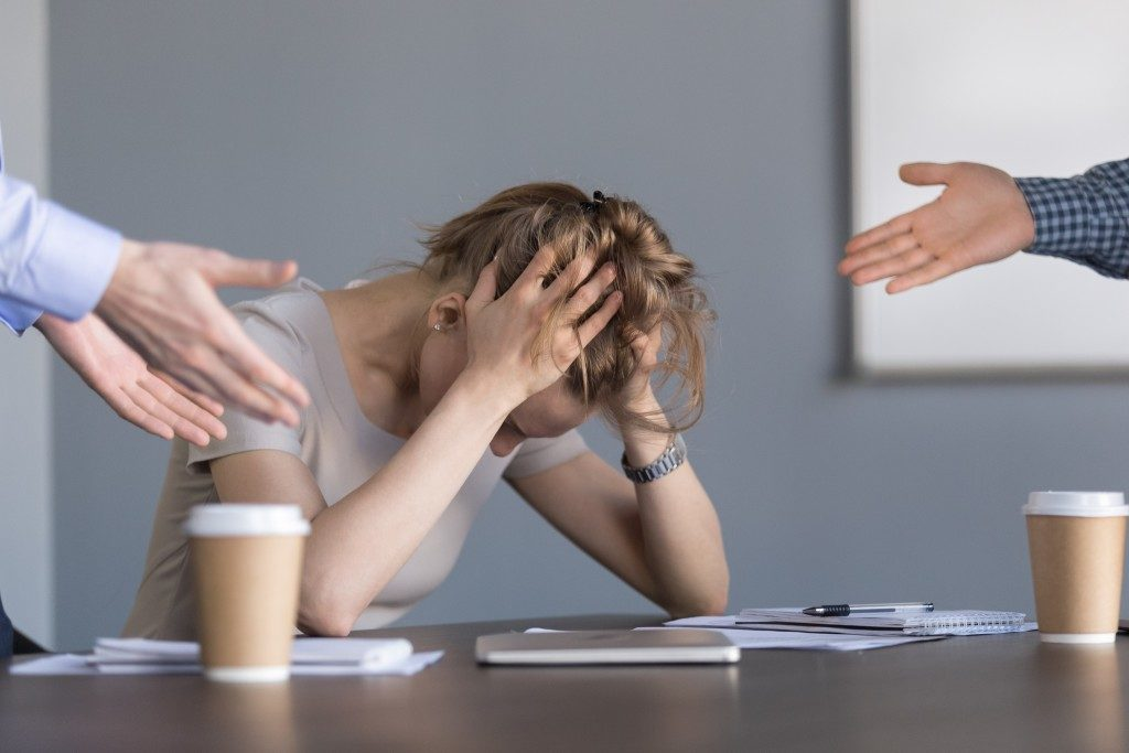 Woman burnout of work