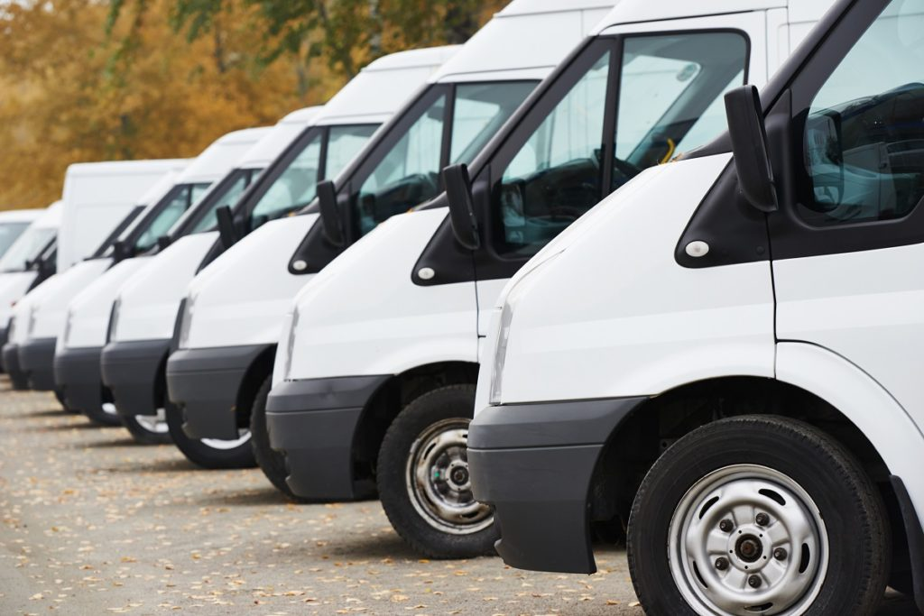 Sprinter vans parked in a row