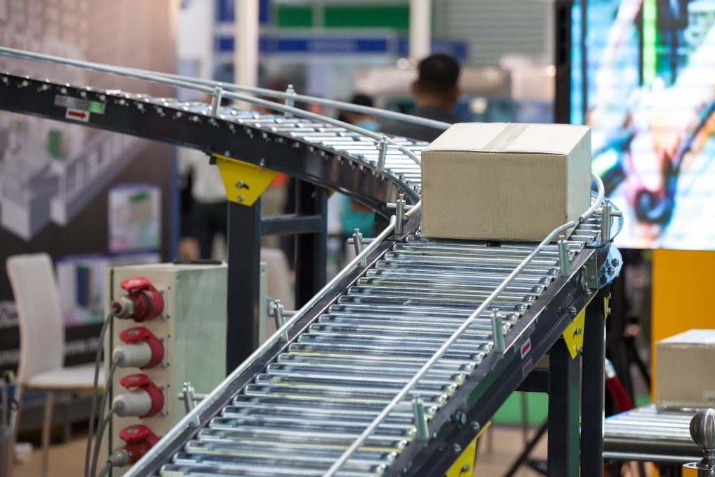 Box on a conveyor