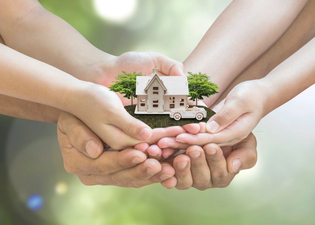 Safe family home model and garden