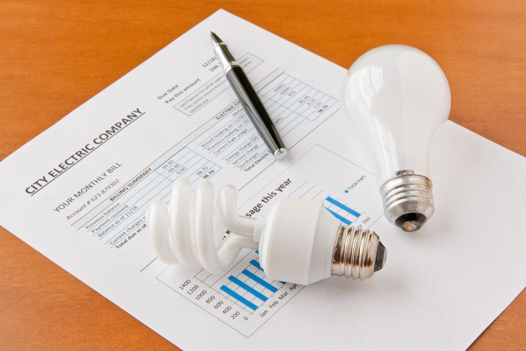 Energy efficiency concept and incandescent bulbs on electric bill