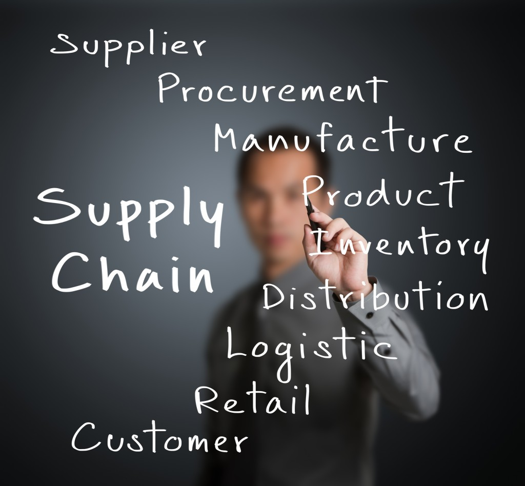 Business man writing supply chain management concept