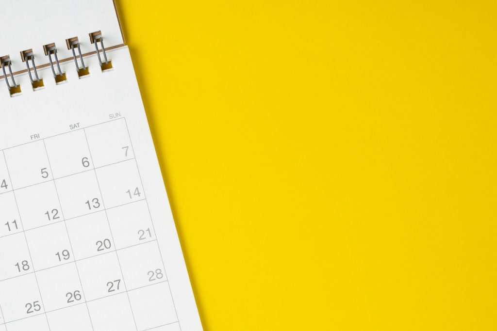 Calendar on a yellow surface