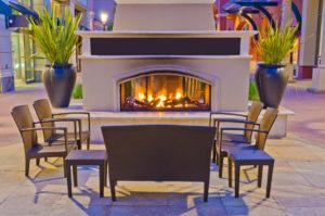 A generic outdoor fireplace at night