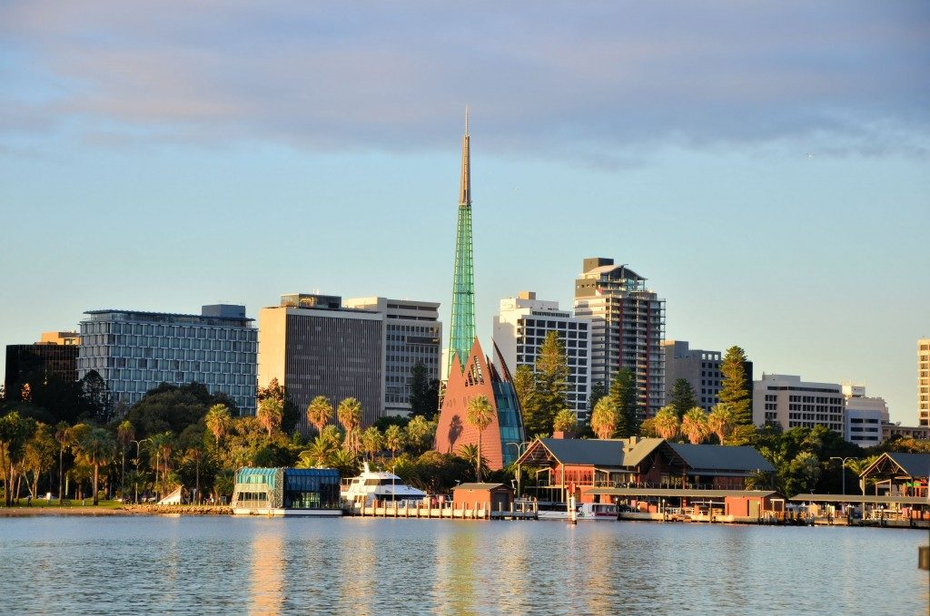 Beautiful View of Perth City Centre From Swan River at Sunset