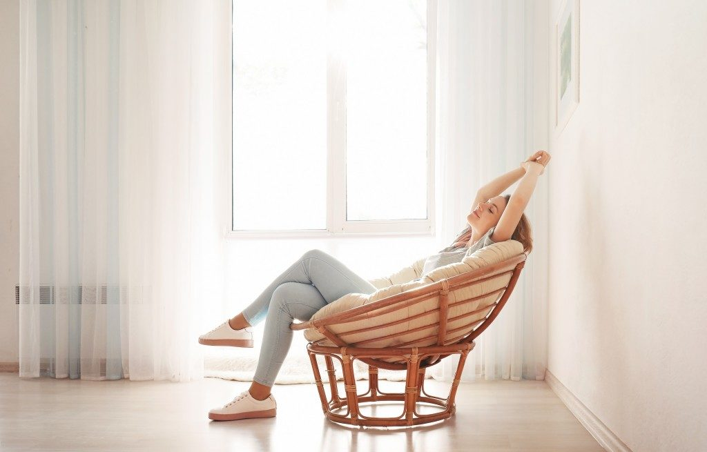 Mom relaxing at home