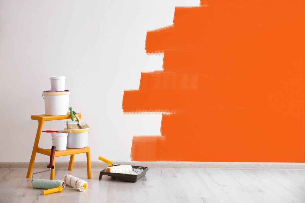 wall half-painted in orange