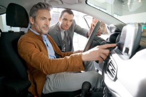 men in car