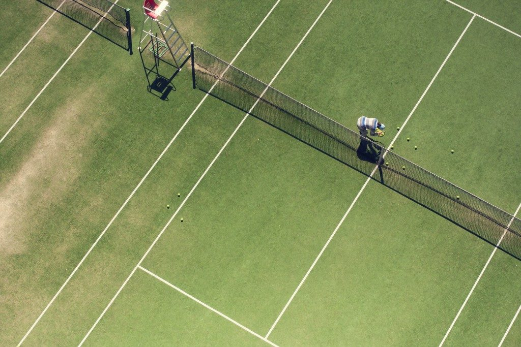 tennis court from above