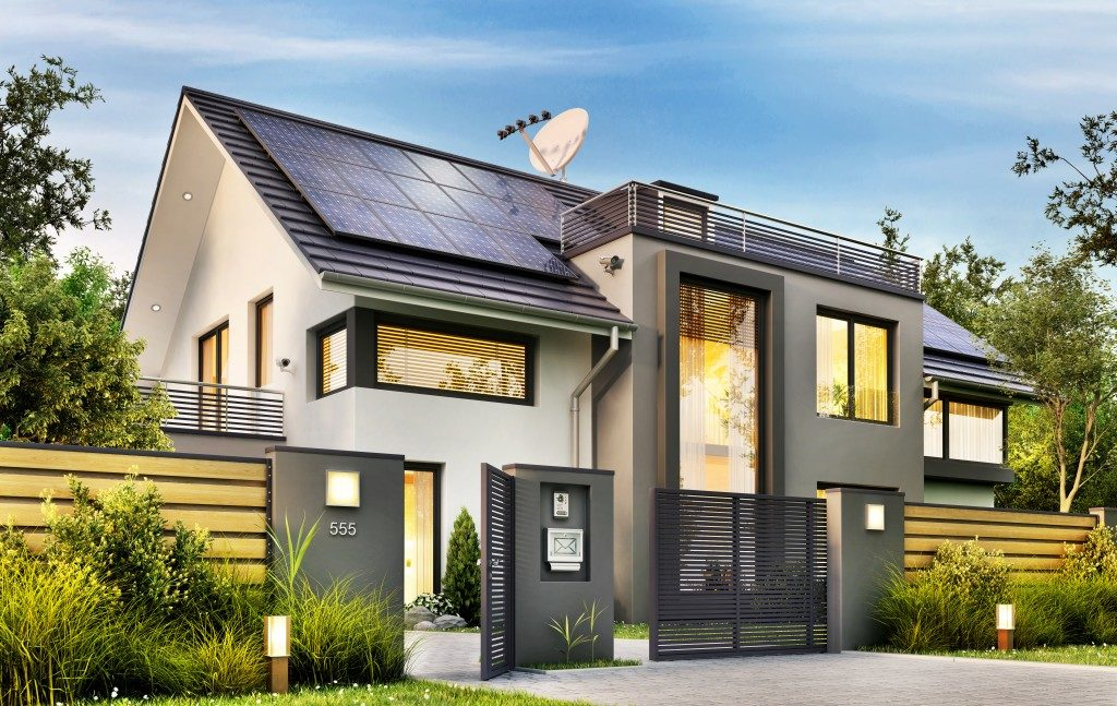 modern house with solar panel roofing