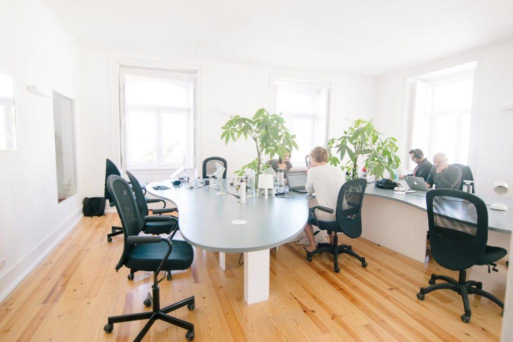 well-lit office