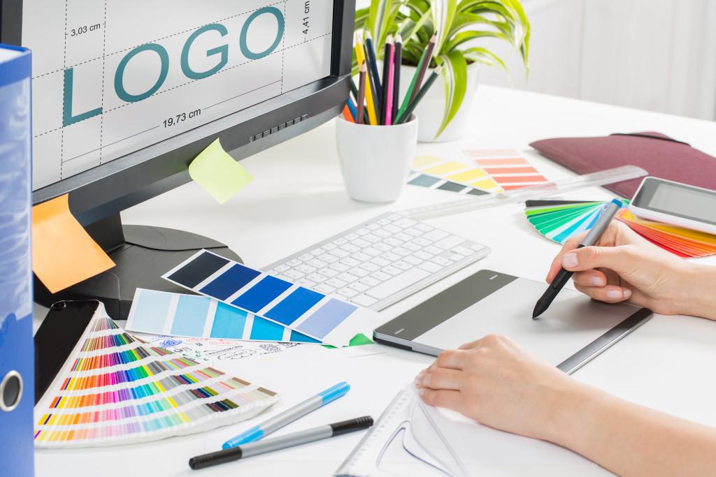 Artist creating logo