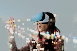 person using VR goggles