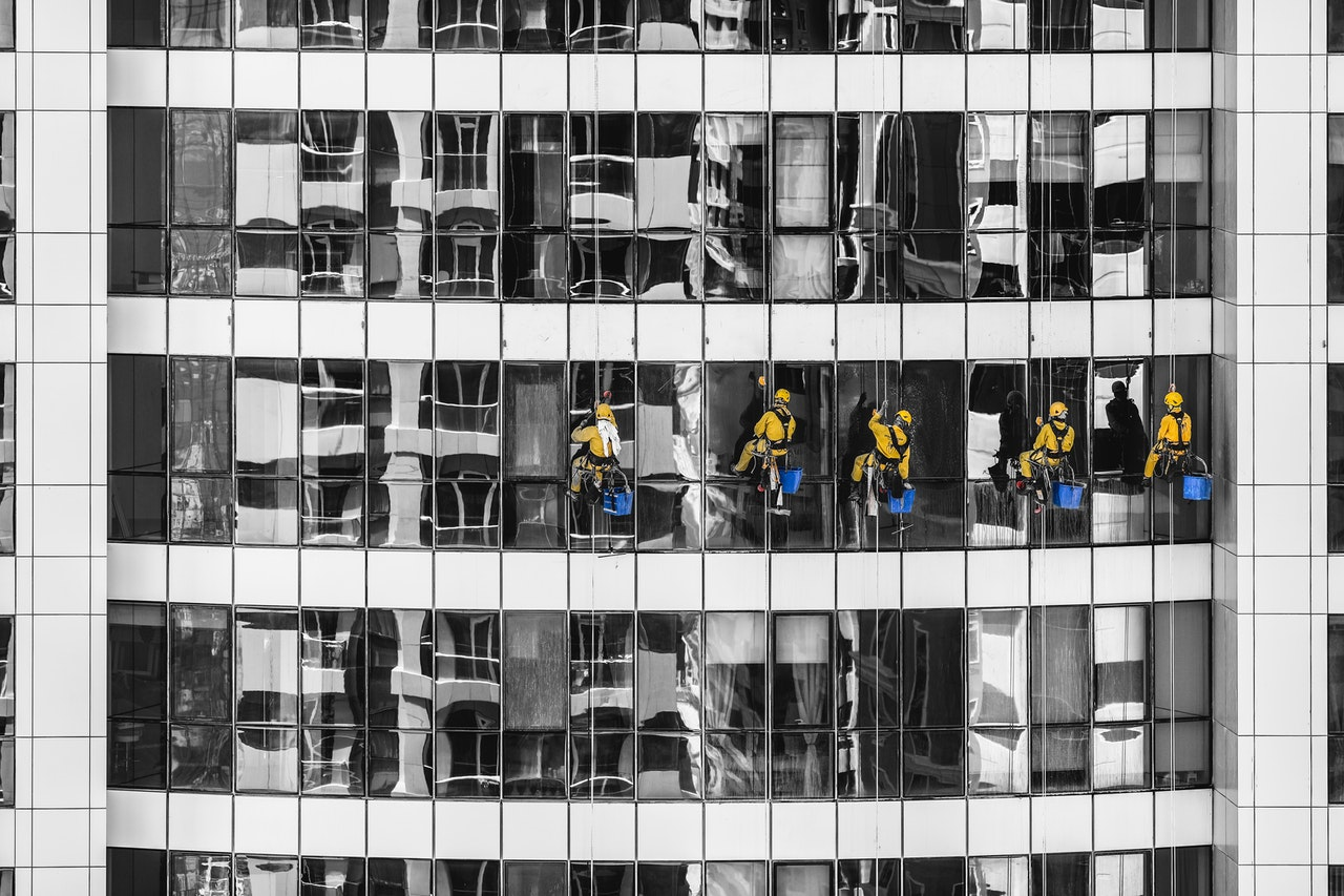 a group of people cleaning the windows of a building