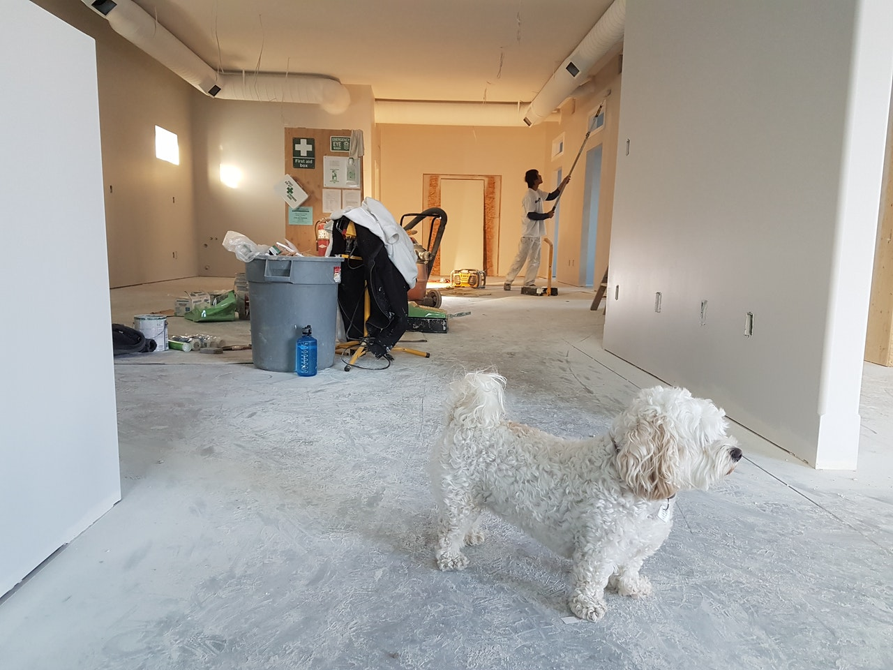 person renovating a room