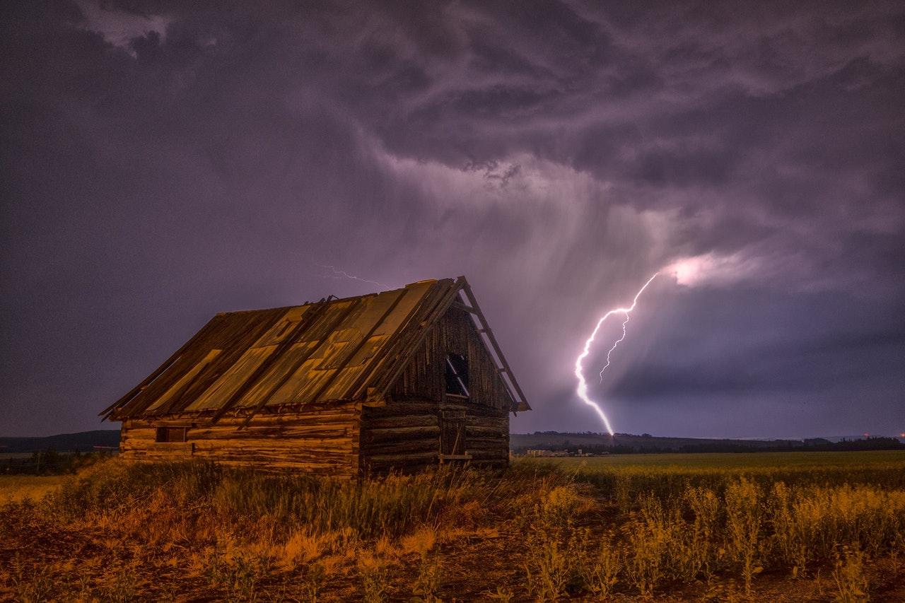 lightning wooden shack
