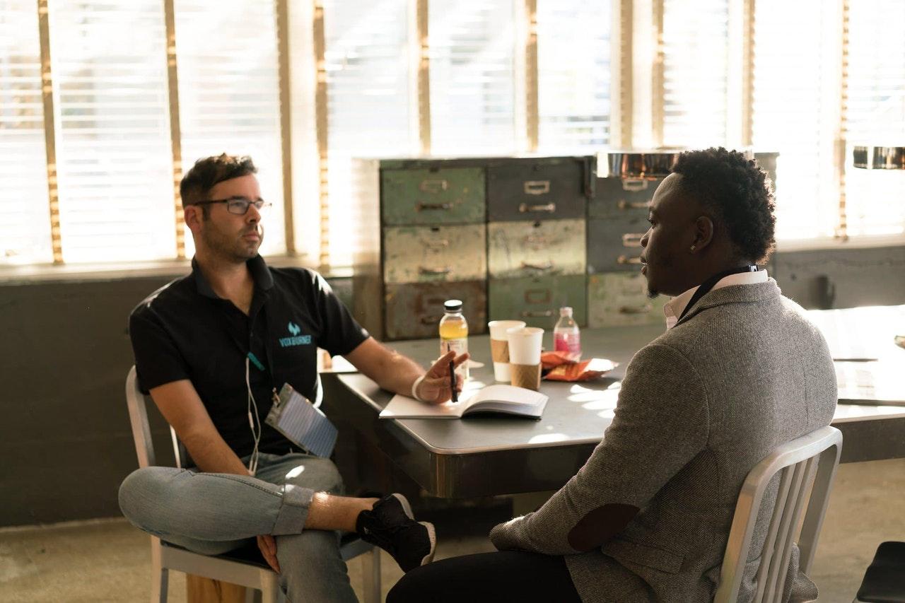 men during an interview