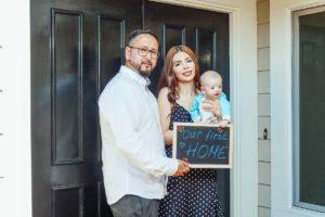 family near the front door
