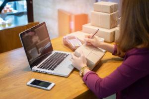 online seller preparing an order