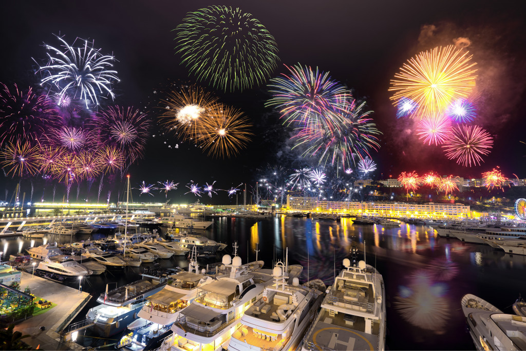 monaco pier with fireworks