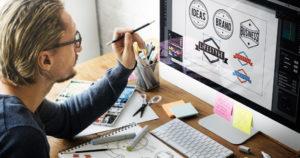man designing logos