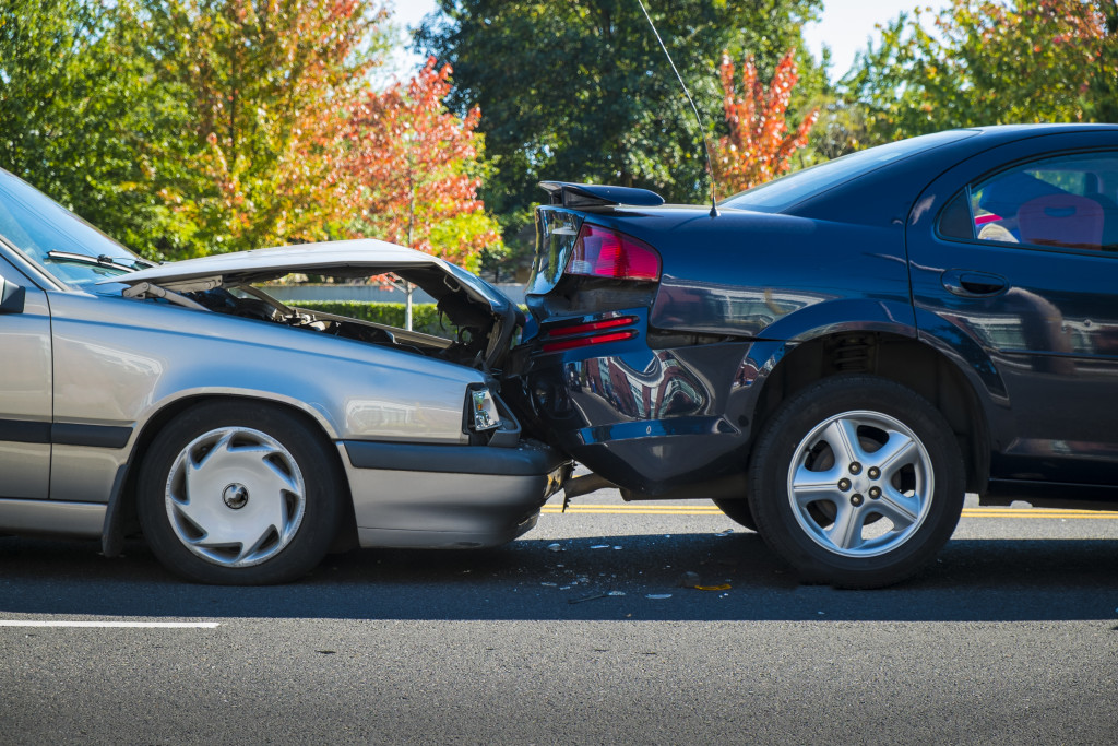 two cars collided together