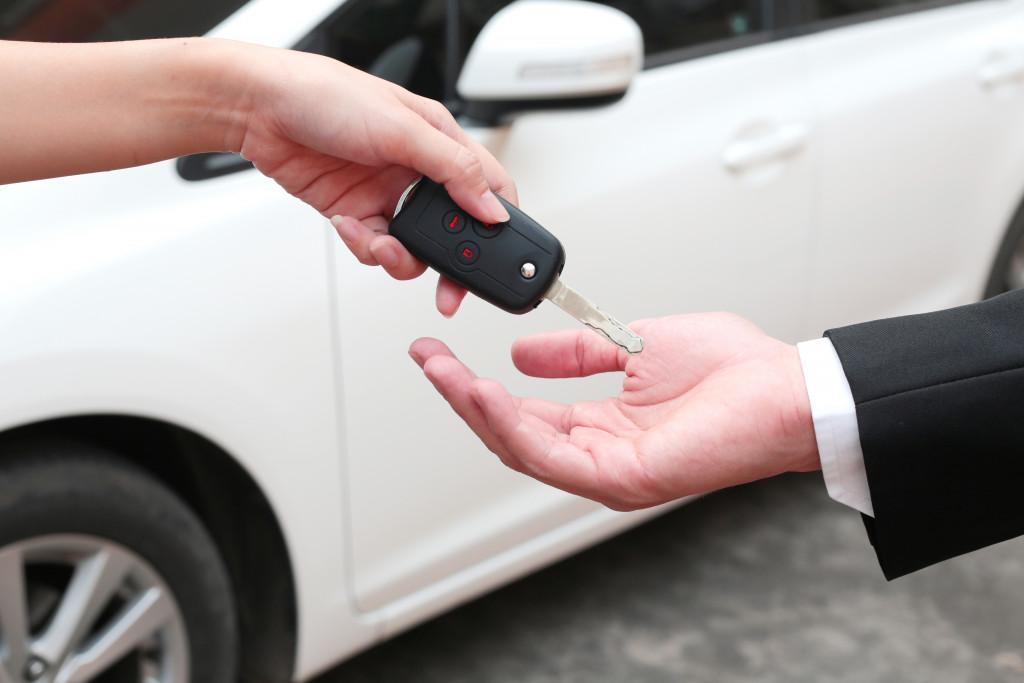 man getting a company car